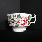 Rare New Hall Breakfast Cup, Bone China, Handpainted Flowers, Antique 19th C English