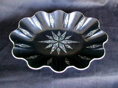 Papier Mache Bowl Mother-of-Pearl Inlays, Antique 19th C