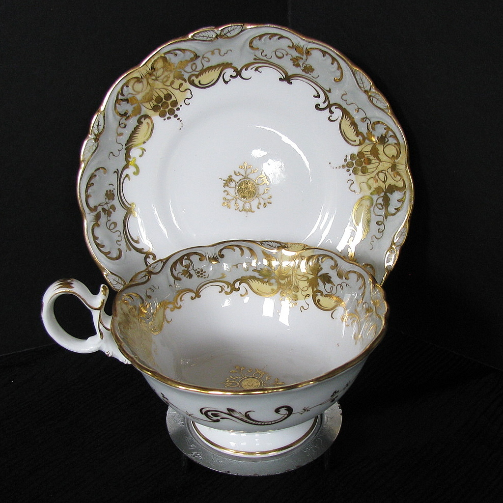 Coalport Cup & Saucer, Adelaide Shape, Antique Early 19th C English Porcelain