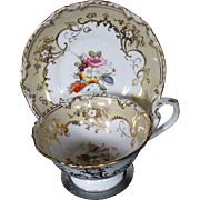 Coalport Cup & Saucer, Handpainted Flowers, Gilding, Antique c 1840