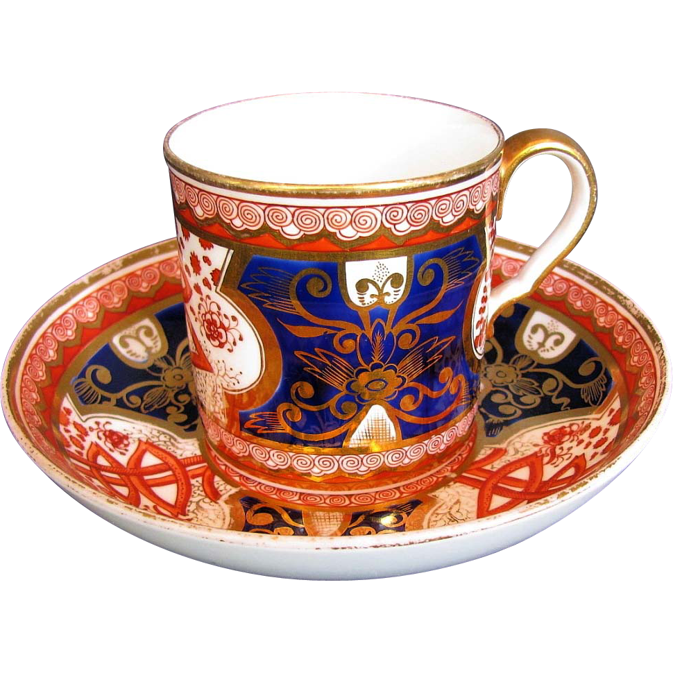 "Spode Coffee Can & Saucer, Imari ""Dollar Pattern"", Antique Early 19th C English"