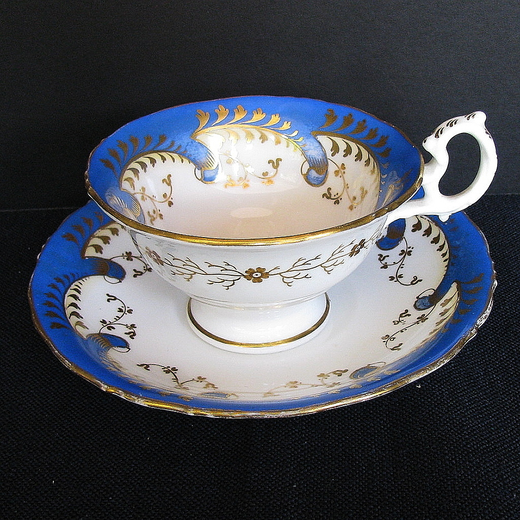"Samuel Alcock Cup & Saucer, ""Rustic Bean"" Handle, Antique Early 19th C"