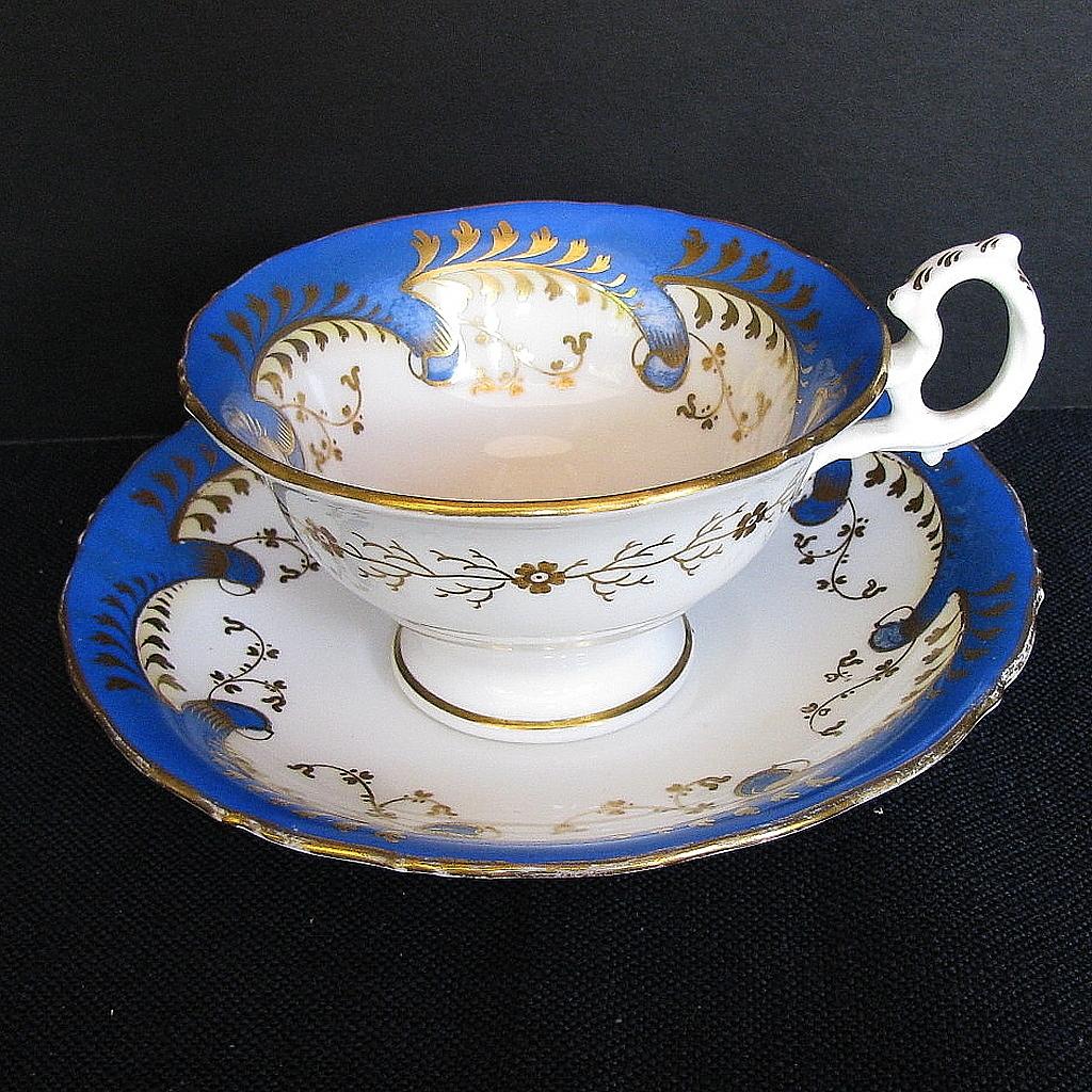 """Samuel Alcock Cup & Saucer, """"Rustic Bean"""" Handle, Antique Porcelain c 1840"""