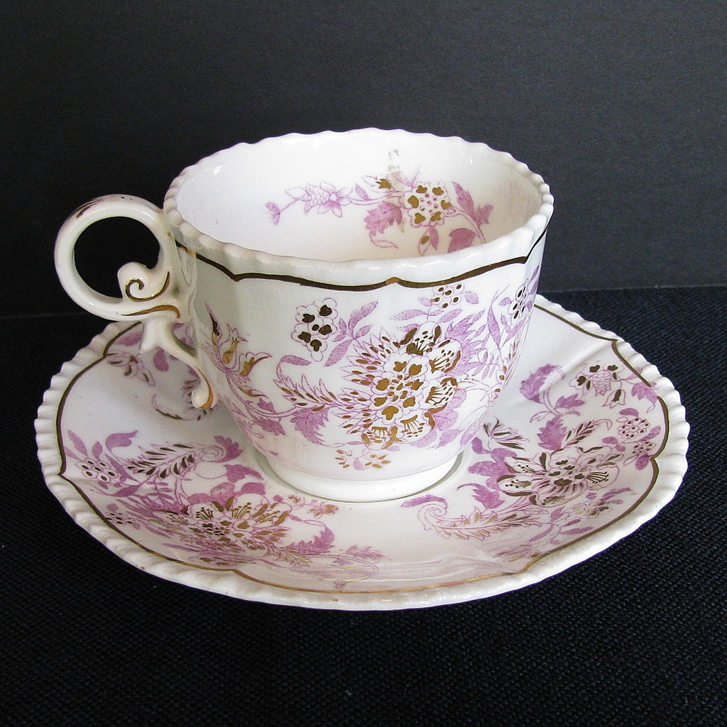 John Rose Coalport Cup & Saucer, Pink & Gold, Antique 19th C