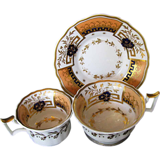 Rare John Yates Trio: Tea & Coffee Cups + Saucer, Antique English Porcelain c 1825