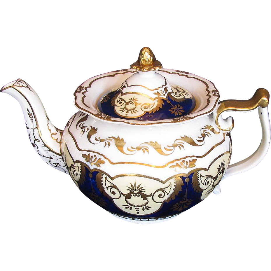 Rare John Yates Porcelain Teapot, Antique Early 19th C English