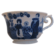 Hilditch Cup, Chinoiserie, Dark Blue, Antique Early 19th C English Porcelain