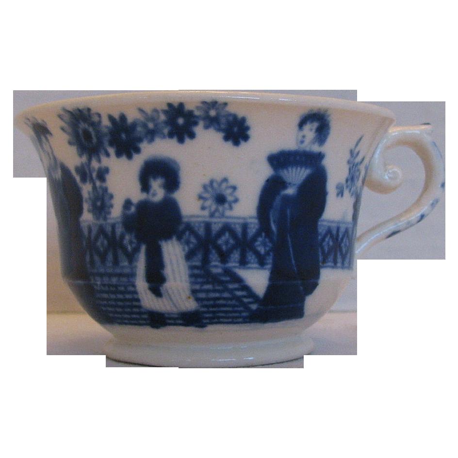 Hilditch Cup, Chinoiserie, Dark Blue, Antique English Porcelain, c 1825