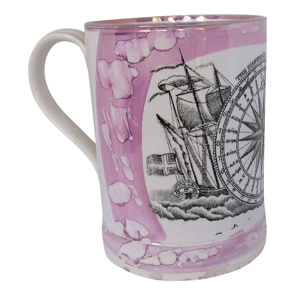 Sunderland Lustre Frog Mug, Mariner's Compass, Antique 19th C