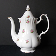 Royal Albert Coffee Pot, Large, Forget-Me-Not Rose, Vintage