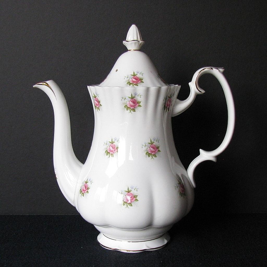 Royal Albert Coffee Pot, Large, Forget-Me-Not Rose, Vintage