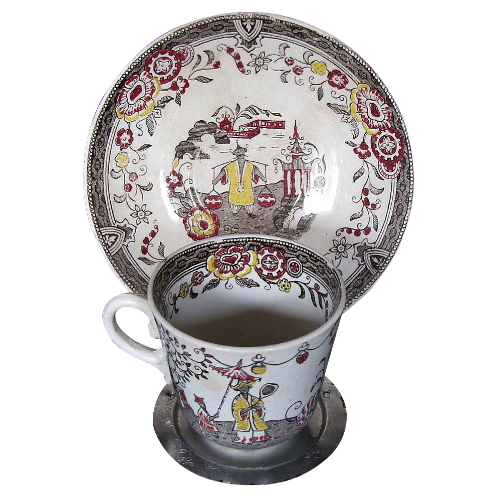 Gustavsberg Cup & Saucer, Rare Swedish Chinoiserie,  Antique 19th C