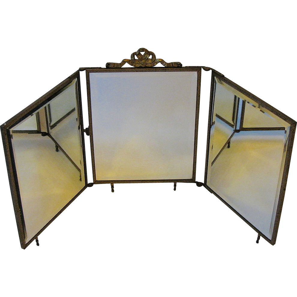 Antique tri fold travel mirror embossed celluloid front for Tri fold mirror
