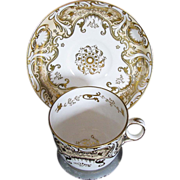 Fine Davenport Porcelain Cup & Saucer, Heavily Gilded, Antique c 1820