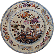 Davenport Stone China Plate, Chinoiserie Stork Pattern, Antique c 1815
