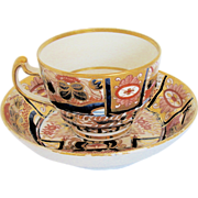 "Chamberlain's Worcester Cup & Saucer, ""Nelson Pattern"",  English Imari, Early 19th C"