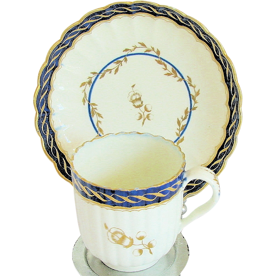 Caughley Cup & Saucer, Hand Painted, c. 1795 English Porcelain