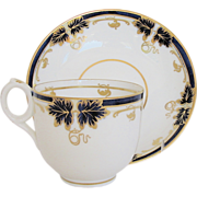 Fine Davenport Porcelain Cup & Saucer, Blue & Gold, Antique 19th C English