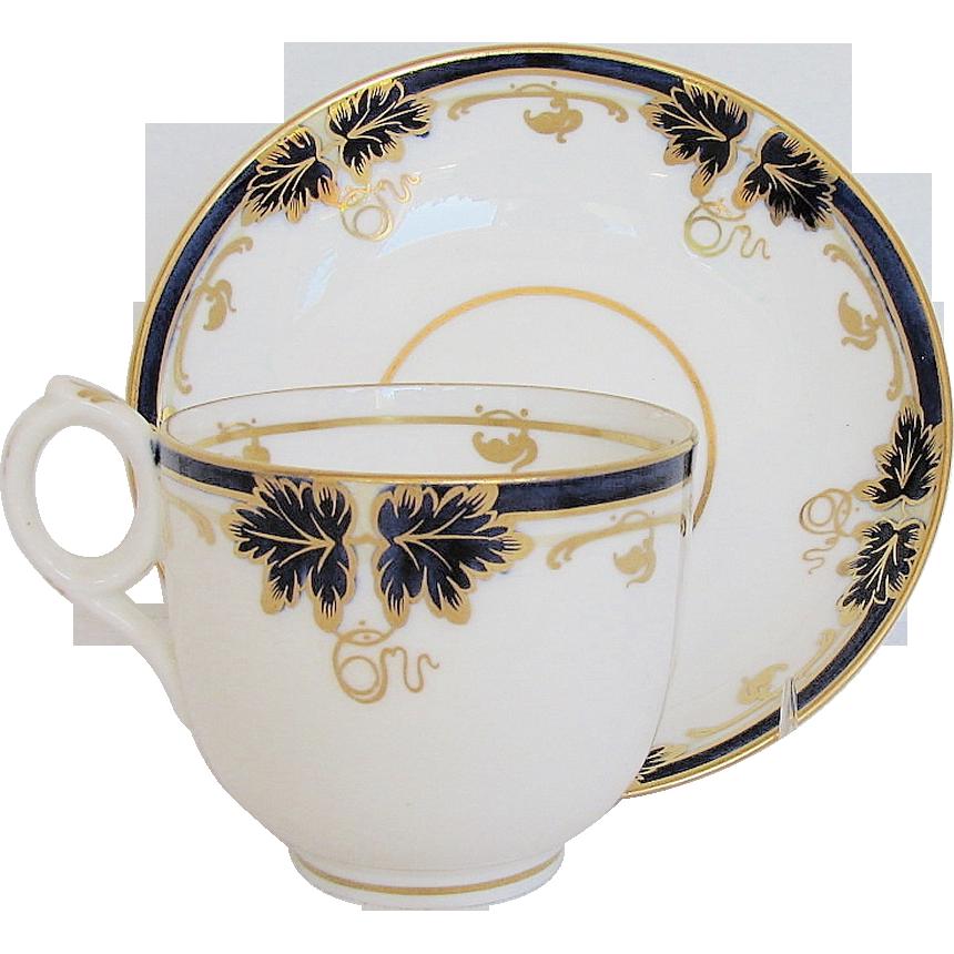 Fine Davenport Cup & Saucer, Bone China, Cobalt Blue & Gold, Antique 19th C