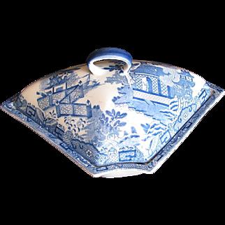 "Davenport Supper Set Segment & Cover, ""Hermit"" Blue & White, Antique c. 1810"