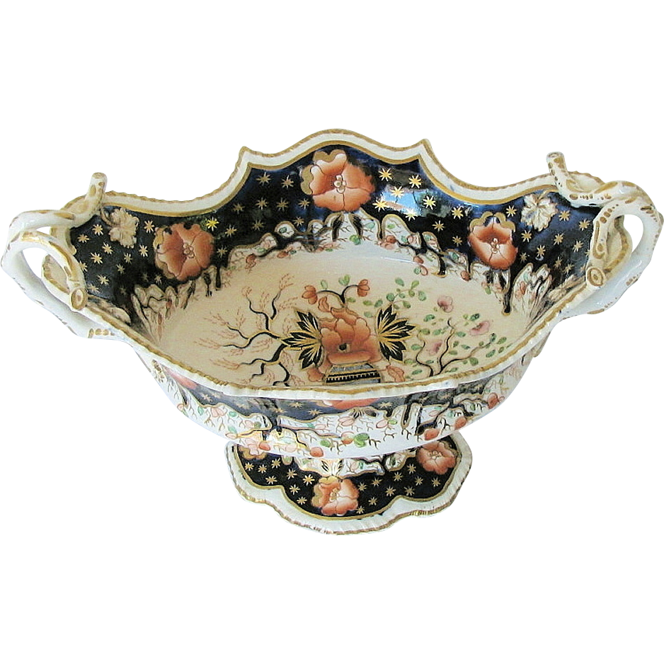 Grainger, Lee & Co., Worcester Porcelain Centerpiece Bowl, English Imari, Antique c 1825