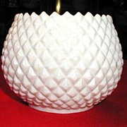 Irish Belleek Flower Pot or Vase, Diamond Quilted, Vintage, 3rd  Black Mark