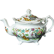 Ridgway Teapot, Molded Rococo Shape on 4 Feet, Antique English Chinoiserie c 1830