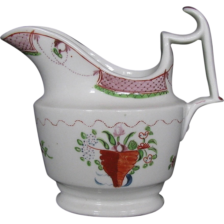 Early Coalport Porcelain Creamer (Cream Jug), Antique Early 19th C,  Anstice, Horton & Rose