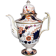 Important Davenport Hybrid-Hard Paste Porcelain Coffee Pot, English Imari, Antique c 1820