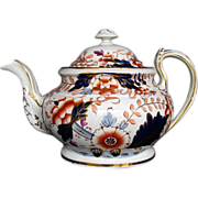 Rare Davenport Hybrid-Hard Paste Porcelain Teapot, English Imari, Antique c 1820