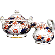 Rare Davenport Hybrid-Hard Paste Porcelain Creamer & Covered Sugar, English Imari, Antique c 1820