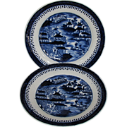 "John Rose Coalport Plates, (Pair) Dark Blue Chinoiserie, ""Curly Pagodas"", Antique c 1820"