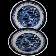 "John Rose Coalport Plates, Set of 8, Dark Blue Chinoiserie, ""Curly Pagodas"", Antique c 1820"