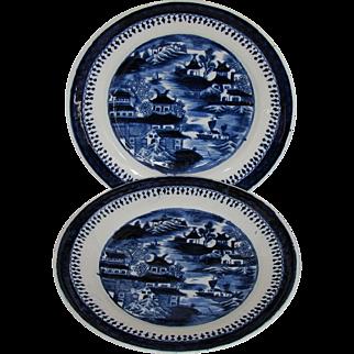 "John Rose Coalport Plates, (Pair) Dark Blue Chinoiserie, ""Curly Pagodas"", Antique c 1820"