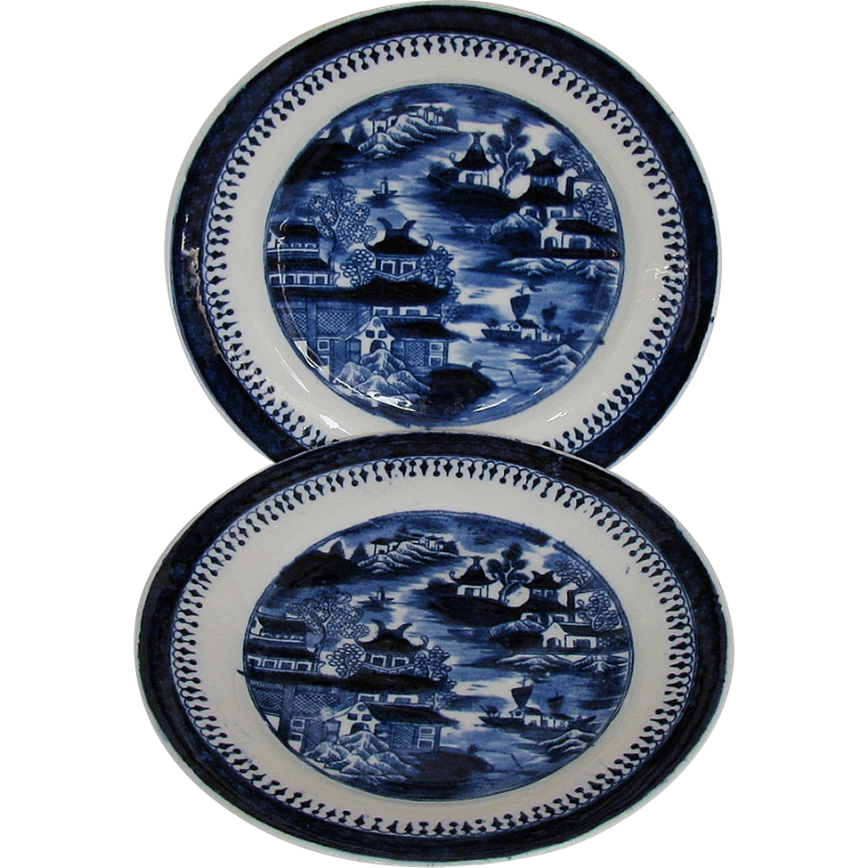 "John Rose Coalport Plates, Set of 8, Dark Blue Chinoiserie, ""Curly Pagodas"", Antique c 1820"