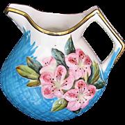 Minton Pitcher or Milk Jug, Molded Azaleas, Pink & Turquoise, Antique 19th C