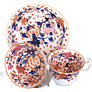 John Rose Coalport Trio: Tea Cup, Coffee Cup & Saucer, Antique Early 19th C English Imari