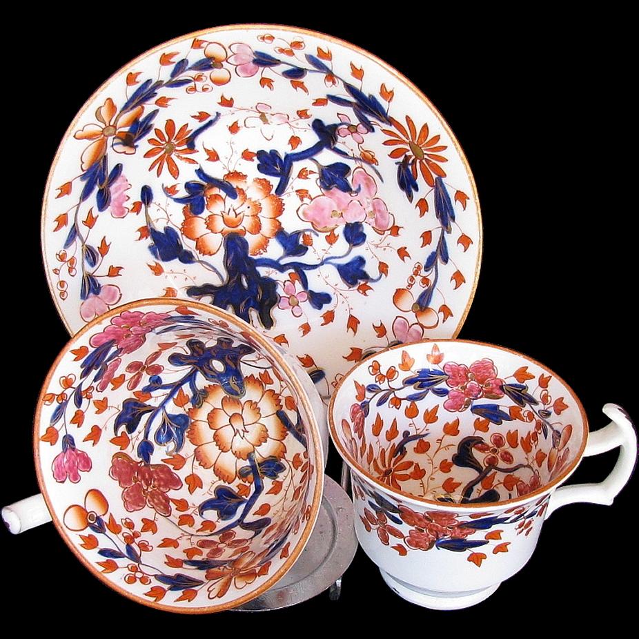 Coalport Trio: Tea & Coffee Cups plus Saucer, Antique Early 19th C English Imari