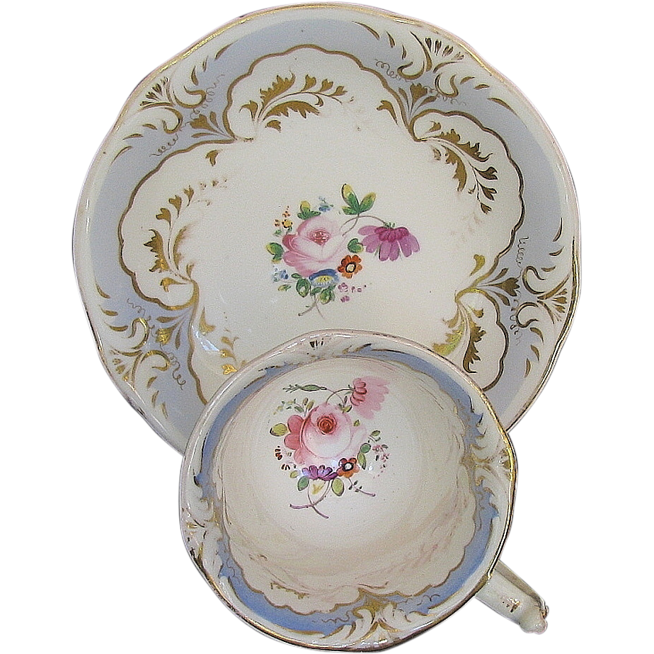 Rockingham Cup & Saucer, Hand Painted Flowers, Puce Griffin Mark, Antique c 1835
