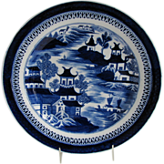 "John Rose Coalport Plate, Dark Blue Chinoiserie, ""Curly Pagodas"", Antique c 1820"