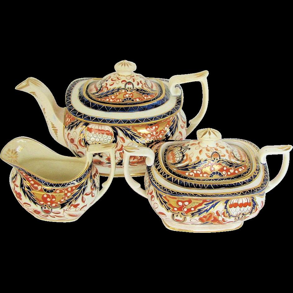 Mayer & Newbold Tea Set: Teapot, Sugar, & Creamer, Antique Early 19th C English Imari