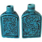 Persian Pottery Flasks or Bottle Vases, Pair, Rare Triangular Shape, Turquoise Blue