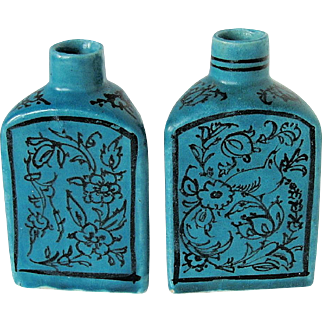 Persian Pottery Flasks or Bottle Vases, Pair, Rare Triangular Shape, Turquoise Blue