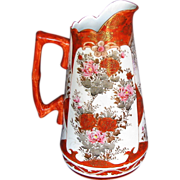 Kutani Kaga Pitcher, Signed, Antique Meiji Era Japanese Porcelain