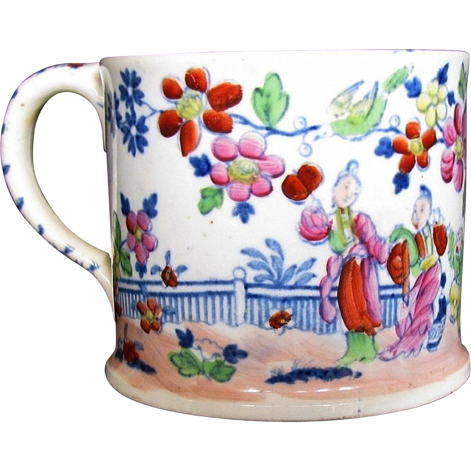 Rare Samuel & John Rathbone Porcelain Mug, English Chinoiserie, Antique c1825