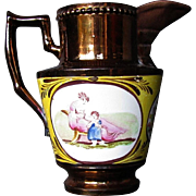 Copper Lustre Creamer, Rare Canary Yellow Ground, Mother & Child, Antique c1810