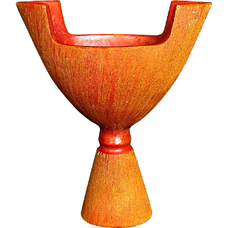 Japanese Awaji Pottery Vase, Art Deco, Crystalline Chrome Red (Orange) Glaze with Sgraffito