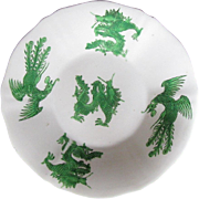 Rare Joseph Machin Porcelain Plate, Green Dragon & Phoenix, Antique English Chinoiserie, c1825