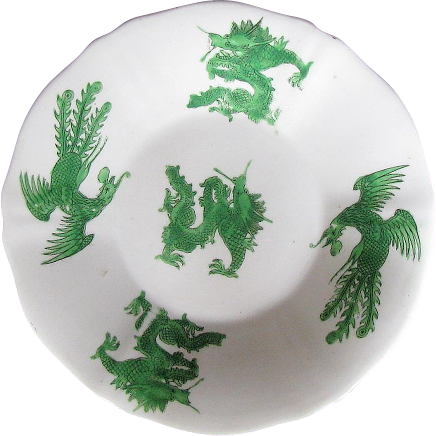 Rare Joseph Machin Porcelain Plate, Green Dragon & Phoenix, Antique English Chinoiserie, c1825