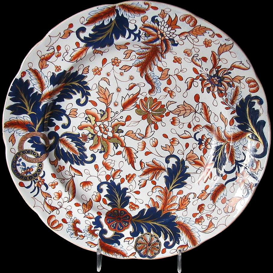 "Rare Copeland & Garrett Plate, English Imari, Antique Early 19th C, ""New Fayence"""